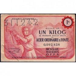 1 kg acier ordinaire et fonte - 31-12-1942 - Endossé à Courbevoie (92)  - Sans série - Etat : TTB+