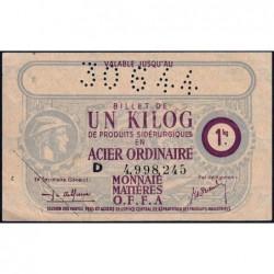 1 kg acier ordinaire - 30-09-1944 - Endossé à Pithivier (45) - Série D - Etat : SUP