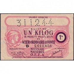 1 kg acier ordinaire et fonte - 31-12-1944 - Endossé à Tours (45)  - Série D - Etat : SUP