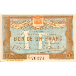 Le Tréport - Pirot 71-25 variété - 1 franc - Lettre A - Série G - 6e émission - 1916 - Etat : NEUF