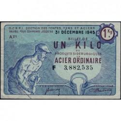 1 kg acier ordinaire - 31-12-1945 - Endossé à Paris (75) - Série F - Etat : TTB