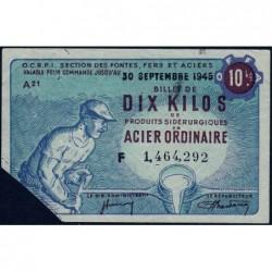 10 kg acier ordinaire - 30-09-1945 - Endossé à Paris (75) - Série F - Etat : TTB
