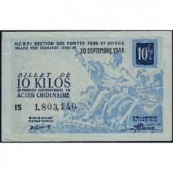 10 kg acier ordinaire - 30-09-1948 - Non endossé - Série IS - Etat : TTB+