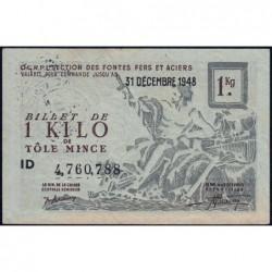 1 kg tôles minces - 31-12-1948 - Endossé dans l'Oise (60) - Série ID - Etat : SUP