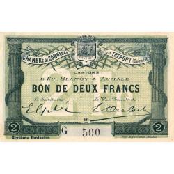 Le Tréport - Pirot 71-26 variété - 2 francs - Lettre B - Série G - 6e émission - 1916 - Etat : SUP+