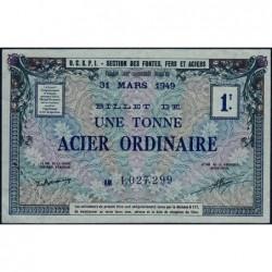 1 tonne acier ordinaire - 31-03-1949 - Endossé à Paris (75) - Série AM - Etat : SUP+