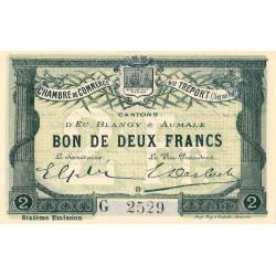 Le Tréport - Pirot 71-26 variété - 2 francs - Lettre B - Série G - 6e émission - 1916 - Etat : SPL