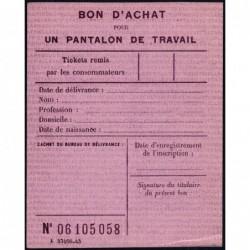 Bon d'achat pantalon de travail - 1946 - Etat : SUP