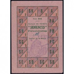 Rationnement - Semences - Titre 544 - 1942 - Aisne (02) - Etat : SUP
