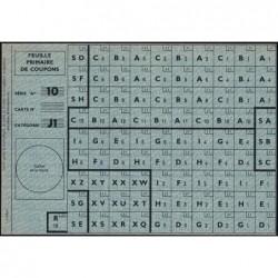 Rationnement - Feuille primaire coupons - Série 10 - Catégorie J1 - 1944 - Etat : SPL