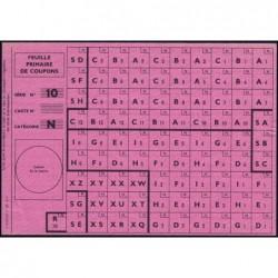Rationnement - Feuille primaire coupons - Série 10 - Catégorie N - 1944 - Etat : SUP