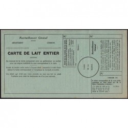 Rationnement - Demi-litre de lait entier - 1944- Etat : SUP
