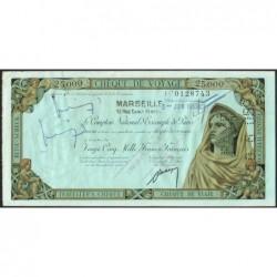 Sté Nlle de la Compagnie Algérienne - Chèque de voyage - 25'000 francs - 1959 - Etat : SUP