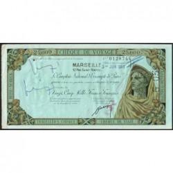 Sté Nlle de la Compagnie Algérienne - Chèque de voyage - 25'000 francs - 1959 - Etat : TTB+