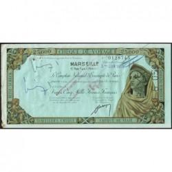 Sté Nlle de la Compagnie Algérienne - Chèque de voyage - 25'000 francs - 1959 - Etat : TB+