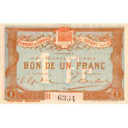 Le Tréport - Pirot 71-29 variété - 1 franc - Lettre A - Série H - 7e émission - 1916 - Etat : TTB+