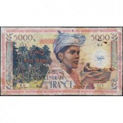 Martinique - Pick 36 - 5'000 francs - France Outre-Mer - 1956 - Etat : B+ à TB-