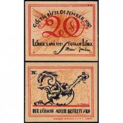 Allemagne - Notgeld - Lübeck - 20 pfennig - Série IV - 01/04/1921 - Etat : NEUF