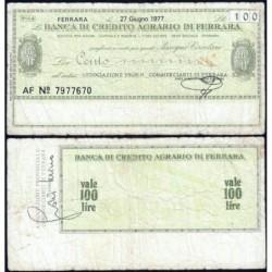Italie - Miniassegni - Banca di Credito Agrario du Ferrara - 100 lire - 27/06/1977 - Etat : TB+