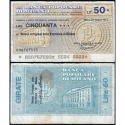 Italie - Miniassegni - La Banca Popolare di Milano - 50 lire - 30/06/1977 - Etat : TB