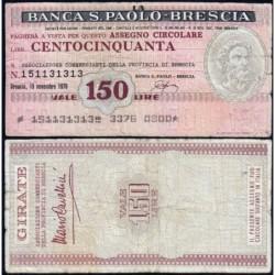 Italie - Miniassegni - La Banca S. Paolo-Brescia - 150 lire - 15/11/1976 - Etat : TB-