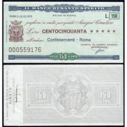 Italie - Miniassegni - Il Banco di Santo Spirito - 150 lire - 10/12/1976 - Etat : TTB