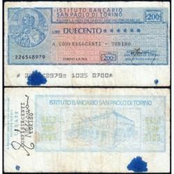 Italie - Miniassegni - L'Istituto Bancario San Paolo di Torino - 200 lire - 06/09/1976 - Etat : TB-