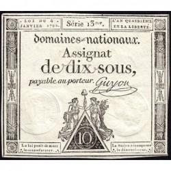 Assignat 23a - 10 sous - 4 janvier 1792 - Série 13 - Etat : SUP+