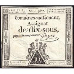 Assignat 23a - 10 sous - 4 janvier 1792 - Série 48 - Etat : SUP