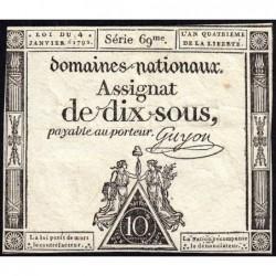 Assignat 23a - 10 sous - 4 janvier 1792 - Série 69 - Etat : TTB