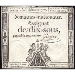 Assignat 23a - 10 sous - 4 janvier 1792 - Série 217 - Etat : TTB