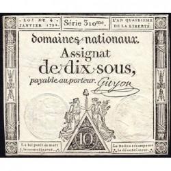 Assignat 23a - 10 sous - 4 janvier 1792 - Série 310 - Etat : TTB+