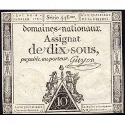 Assignat 23a - 10 sous - 4 janvier 1792 - Série 446 - Etat : TTB+