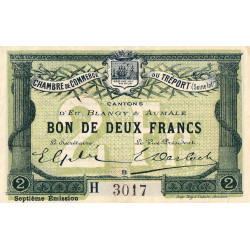Le Tréport - Pirot 71-30 - 2 francs - Lettre B - Série H - 7e émission - 1916 - Etat : SUP