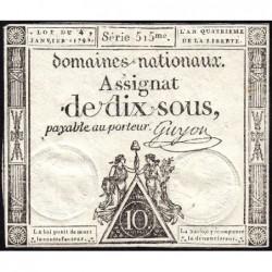 Assignat 23a - 10 sous - 4 janvier 1792 - Série 515 - Etat : SUP