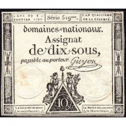 Assignat 23a - 10 sous - 4 janvier 1792 - Série 519 - Etat : TTB+