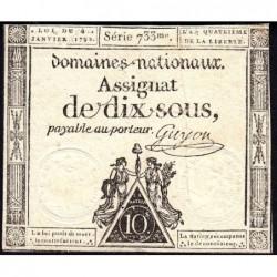 Assignat 23a - 10 sous - 4 janvier 1792 - Série 733 - Etat : TTB+