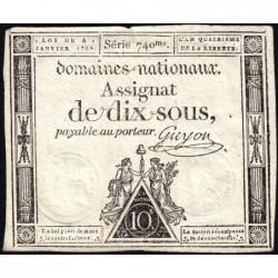 Assignat 23a - 10 sous - 4 janvier 1792 - Série 740 - Etat : TTB