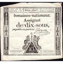 Assignat 23a - 10 sous - 4 janvier 1792 - Série 760 - Etat : TTB+