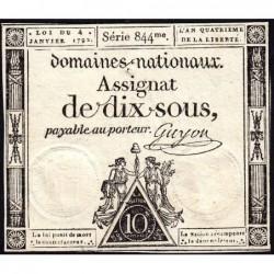 Assignat 23a - 10 sous - 4 janvier 1792 - Série 844 - Etat : SUP+