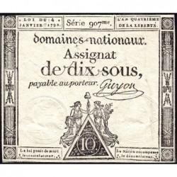 Assignat 23a - 10 sous - 4 janvier 1792 - Série 907 - Etat : SUP