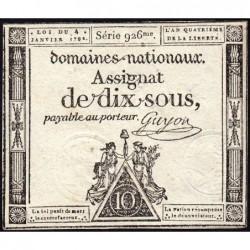 Assignat 23a - 10 sous - 4 janvier 1792 - Série 926 - Etat : SUP+