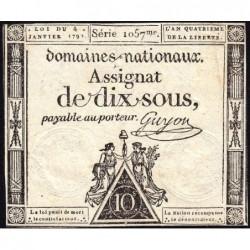 Assignat 23a - 10 sous - 4 janvier 1792 - Série 1057 - Etat : TTB