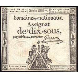 Assignat 23a - 10 sous - 4 janvier 1792 - Série 886 - Etat : TTB+
