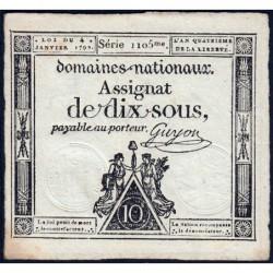 Assignat 23a - 10 sous - 4 janvier 1792 - Série 1105 - Etat : SUP