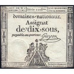 Assignat 23a - 10 sous - 4 janvier 1792 - Série 108 - Etat : TTB+