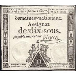 Assignat 23a - 10 sous - 4 janvier 1792 - Série 1236 - Etat : SUP+