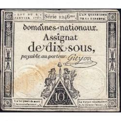 Assignat 23a - 10 sous - 4 janvier 1792 - Série 1246 - Etat : TB+