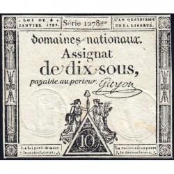 Assignat 23a - 10 sous - 4 janvier 1792 - Série 1278 - Etat : TTB+