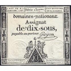 Assignat 23a - 10 sous - 4 janvier 1792 - Série 1307 - Etat : TTB+